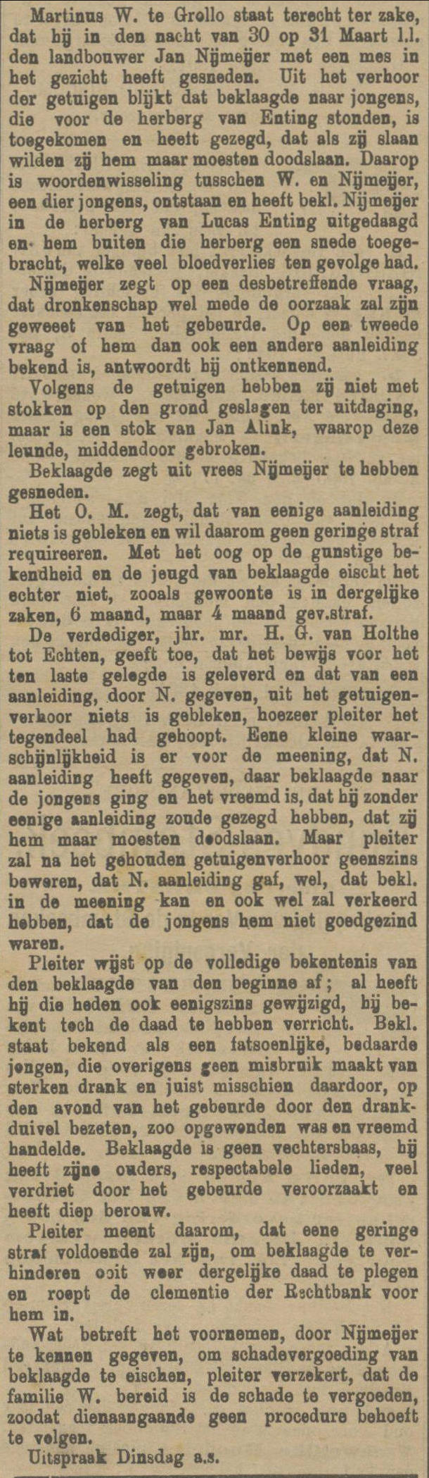 18910423 krant PDAC vechtpartij cafe Enting
